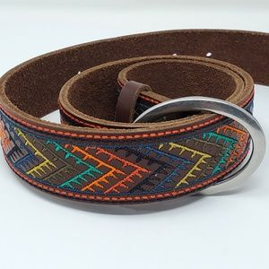 Lucky Brand Chevron Embroidered Leather Belt S